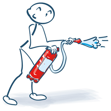 extinguishers: Stick figure with with fire extinguishers in fire-fighting Illustration