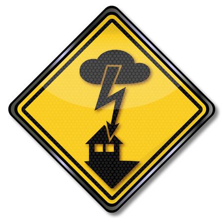 descarga electrica: Advertencia de descarga el�ctrica y da�os por un rayo en la casa Vectores