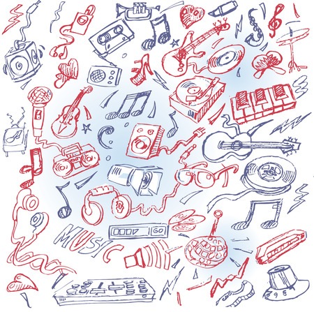 Ballpoint pen drawing with music and instruments