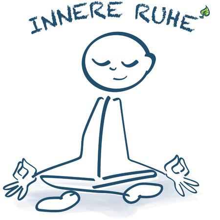 paz interior: Figura del palillo que se sienta con las piernas cruzadas paz interior y Vectores