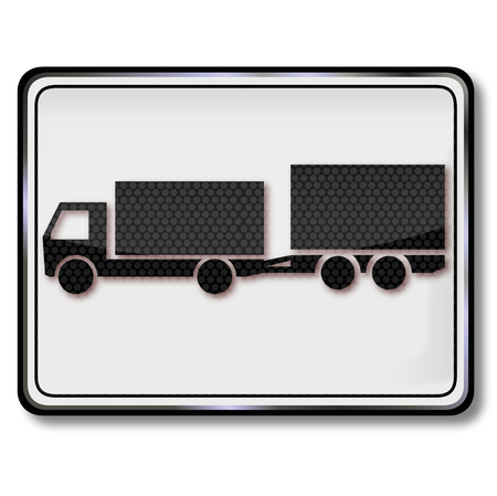 smaller: Sign with truck and smaller biaxial trailer