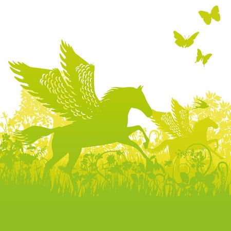 Pegasus avec des ailes dans le fourré