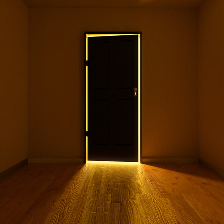 room door: Dark room with an illuminated door Stock Photo
