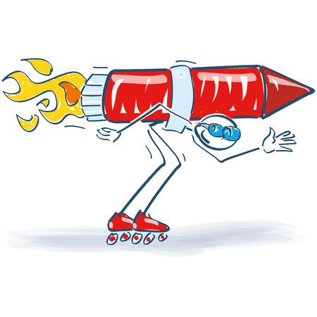 roller skates: Stick figure with a rocket on his back and roller skates