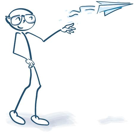 Figura del palillo con un avión de papel Ilustración de vector