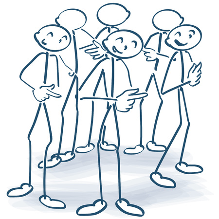 Stick figures standing in a circle and give responsibility further