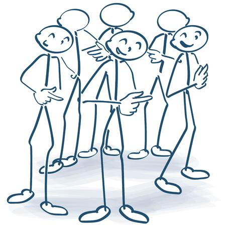 Trzymać figurki stojących w kręgu i przekazanie odpowiedzialności z dalszego Ilustracje wektorowe