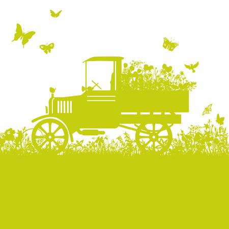 overgrown: Old lorry in overgrown garden Illustration