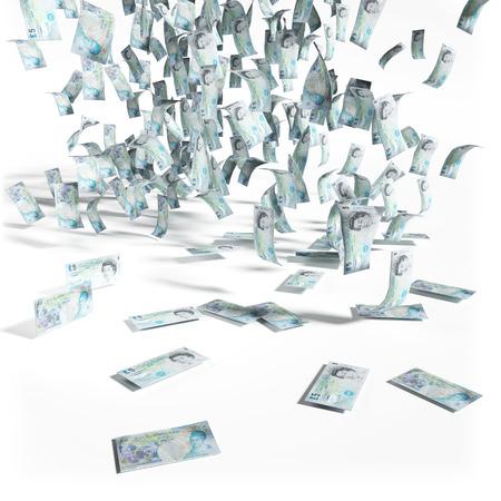 debt trap: Money rain of 5 pounds sterling bills