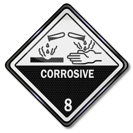substances: Warning signs caustic and corrosive substances