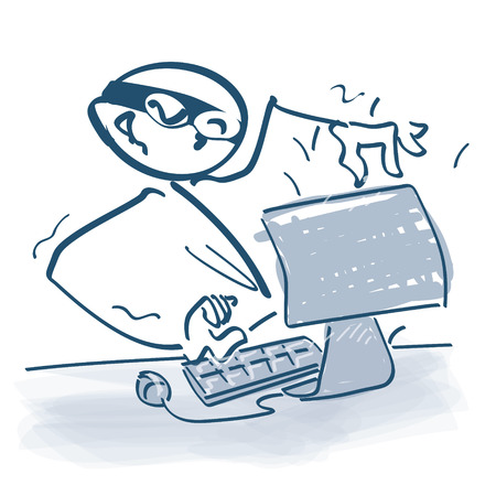 unsolicited: Stick figure as a hacker in front of computer Illustration