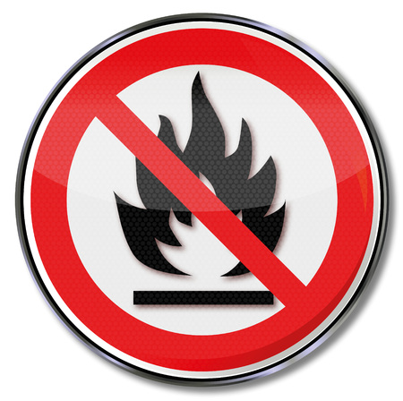 embers: Prohibition sign for open fires and fireplaces