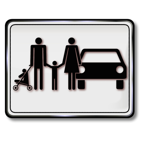 family policy: Shield family, parking and family car Illustration