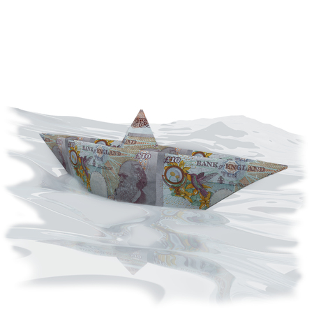 domestic policy: Little paper boat with 10 pounds sterling