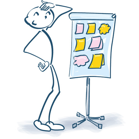 flip chart: Stick figure with a flip chart and little papers and little stickers