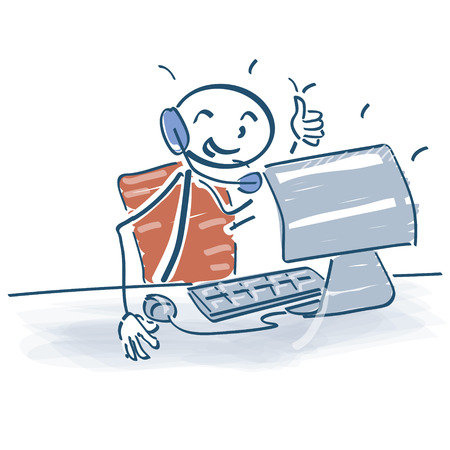 Stick figure sitting at the computer with a headset on Stock Illustratie