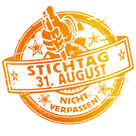 31: Rubber stamp with the date August 31.