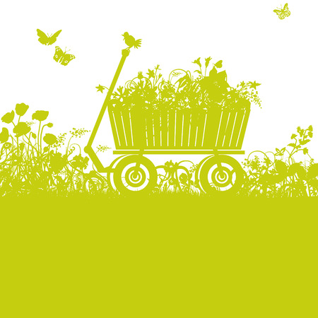 Handcart in overgrown garden