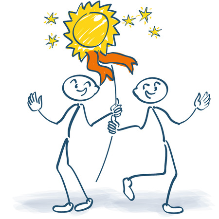 Two stick figures cheering with a plaque at