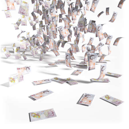 pay bill: Money rain of 0 pounds sterling bills Stock Photo