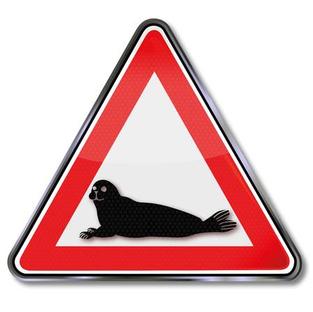 Sign attention seals Illustration