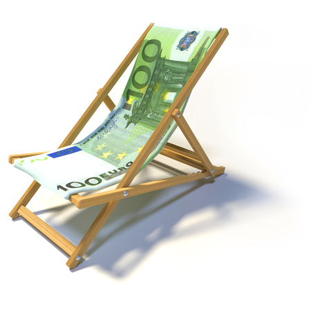 Folding deckchair with 100 euro