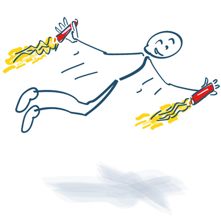 Starting stick figure with two small rockets in hand Illustration