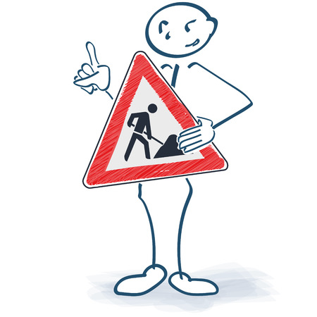 Stick figure with a construction sign in front of the body