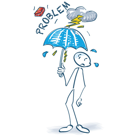 Stick figure with problems and umbrella Illustration