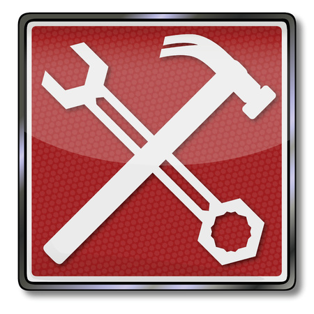 protection devices: Sign with wrench and hammer Illustration