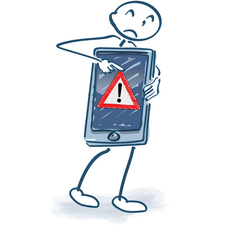 Stick figure with smartphone and error message