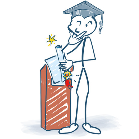 vocational training: Stick figure with completion at the lectern Illustration