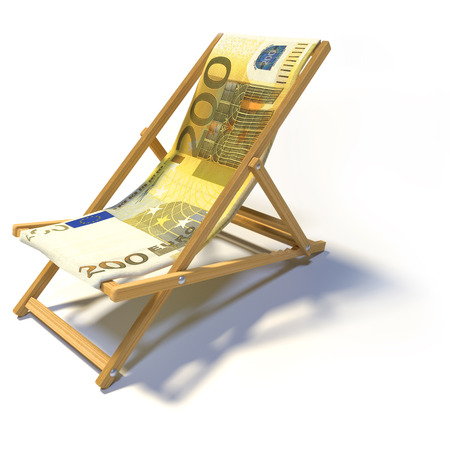 domestic policy: Folding deckchair with 200 euro Stock Photo