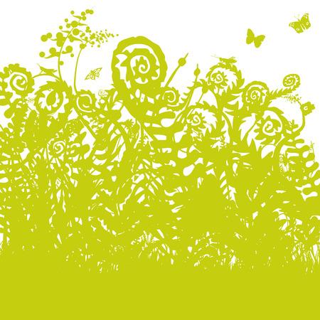 moist: Wild fern in the forest Illustration