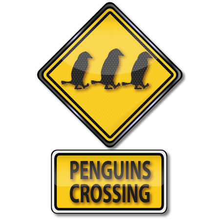 Sign attention penguin crossing