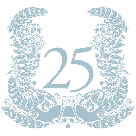 Vignet met 25-jarig jubileum Stock Illustratie