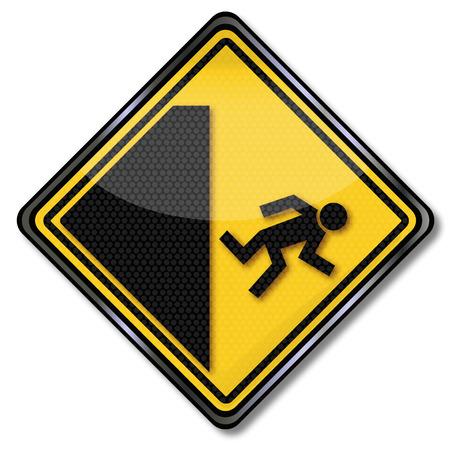 cliffs: Warning of danger of falling from high altitude Illustration