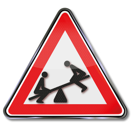 overthrow: Sign with two people on the seesaw