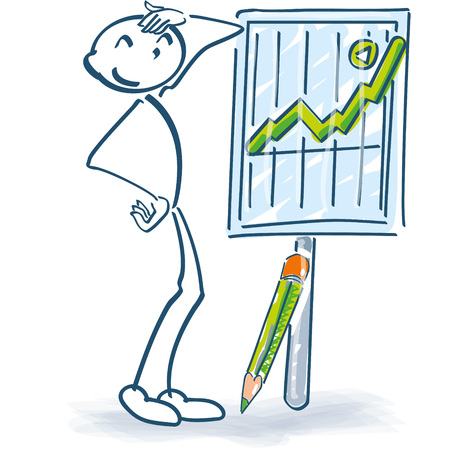 Stick figure stands in front of a poster and the curve goes up Illustration