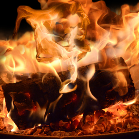 fireplace lighter: Fire in a fireplace Stock Photo