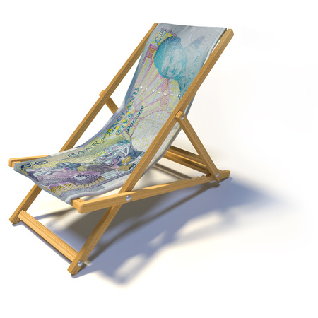 Folding deck chair with five english pounds