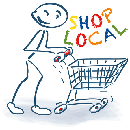 Stick figure with shopping cart, buy in your city and shop local