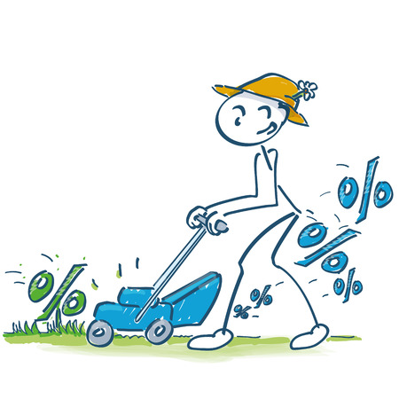 clippings: Stick figure in percentages mow the lawn mower