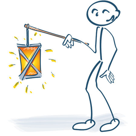 martin: Stick figure with a lantern in Saint Martin Illustration