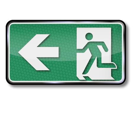 salidas de emergencia: Con el signo de salida de emergencia y salida de emergencia a la izquierda Vectores