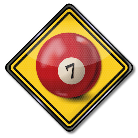 billiard ball: Sign with dark red pool billiard ball number 7 Illustration