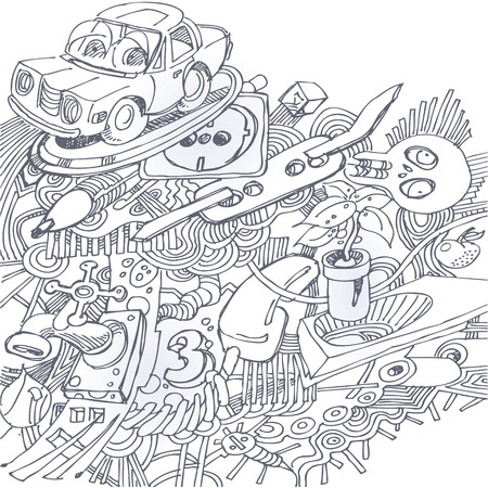 potential: Ballpoint pen drawing with with car, electricity, ballpoint pen, skull and plant