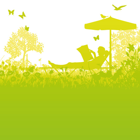 lawn chair: Garden lawn and recreation in the garden under the umbrella