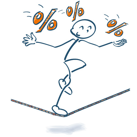 Stick figure on the rope with percentages Illustration
