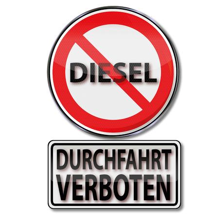 prohibido: Escudo con el paso prohibido para los vehículos diesel